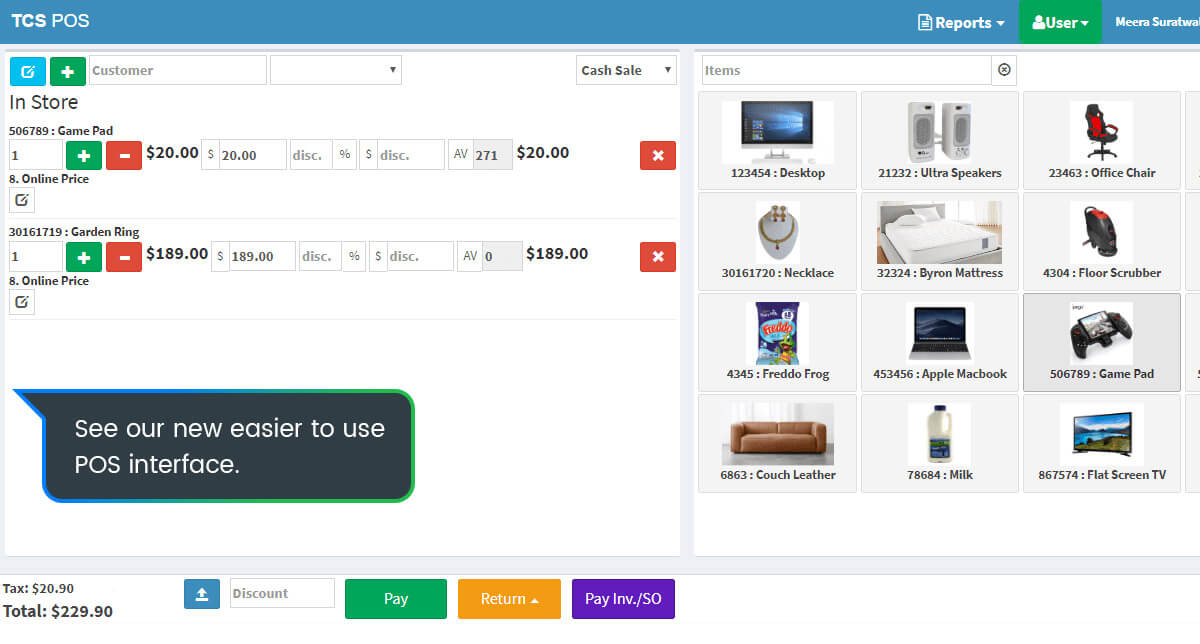 Easy to use POS interface