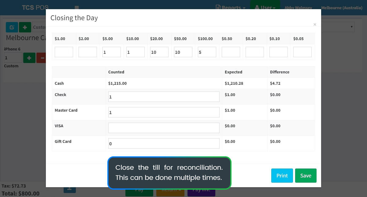 Reconciliation benefits and features on POS Tablet